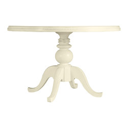 Coastal Living Collection by Stanley Furniture - Pedestal Dining Table from Coastal Living Cottage - If you have a particular color scheme that you're trying to coordinate and don't want the Pedestal Dining Tabletop in a Boardwalk finish, this table allows you the choice to have any one of the thirteen painted colors cover the entire table - top, pedestal and feet. Colors range from the color of a sun-bleached sand dollar to the depth of the bluest sea. You can also choose between a small size tabletop and large. This charming table brings people together with its circular shape encouraging late nights of wining, dining and tall tales of sea adventures.