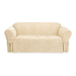 Sure Fit - Sure Fit Soft Suede Sofa Furniture Cover - Add a clean, sleek look to your furniture with covers that have the look and feel of suede. With memory stretch fabric and all-around elastic, covers go on easily and stay in place.