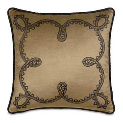 Frontgate - Spanish Blackwork Pillow - Made by Eastern Accents. Blackwork pillow is individually hand-painted and includes a corded edge. Rose pillow has applied flowers and a braided edge. Fully lined 100% velvet, front and back. Zipper closure. Add color, texture, and whimsy to your home with our handmade Spanish Throw Pillows. Inspired by the beatuy of Barcelona, these gorgeous velvet pillows are sure to brighten any room.  .  . . Fully lined . 100% velvet, front and back .  . Down insert . Because this bedding is specially made to order, please allow 4-6 weeks for delivery.. Made in USA.