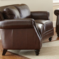 Steve Silver Furniture - Steve Silver Biltmore Loveseat in Cocoa Brown Leather - The Biltmore Collection features a classic hand rubbed and finished semi- aniline leather that will provide you with years of beauty, wear and comfort. Beautifully concaved rail for added style and grace. Biltmore features fully padded outside backs and arms for added durability and wear. The Biltmore also has hand applied brass accent nail head trim which enhances the style and look of the product. The legs are hand finished in a cocoa brown finish which complements the overall look and style of the group. The Biltmore features hand sewn double stitched seams throughout the entire collection.  Expect comfort, beauty, style, and quality construction with the Biltmore Collection. - BL900L.  Product features: 100% top grain leather on all seating areas with leather splits on outside back and arms; Cocoa Brown Leather w/ Antique Brass Nailheads; Seating features 2.0 High Density Foam with 8-way hand tied pocketed coils surrounded by a feather/fiber blend topper.; Attached back pillows with channeled Polyester fiber filling prevents shifting; 100% Solid wood hand finished accent legs; Fully padded outside back and arms. Product includes: Loveseat (1). Loveseat in Cocoa Brown Leather belongs to Biltmore Collection by Steve Silver.