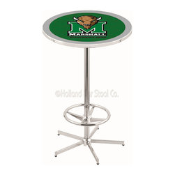 Holland Bar Stool - Holland Bar Stool L216 - 42 Inch Chrome Marshall Pub Table - L216 - 42 Inch Chrome Marshall Pub Table  belongs to College Collection by Holland Bar Stool Made for the ultimate sports fan, impress your buddies with this knockout from Holland Bar Stool. This L216 Marshall table with retro inspried base provides a quality piece to for your Man Cave. You can't find a higher quality logo table on the market. The plating grade steel used to build the frame ensures it will withstand the abuse of the rowdiest of friends for years to come. The structure is triple chrome plated to ensure a rich, sleek, long lasting finish. If you're finishing your bar or game room, do it right with a table from Holland Bar Stool.  Pub Table (1)