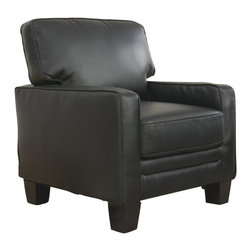 Serta by True Innovations - Serta Santa Rosa Accent Chair in Black Bonded Leather - Serta by True Innovations - Accent Chairs - CR44106 - For more than 75 years, Serta has been an industry leader in comfort products worldwide. That tradition of innovation and quality continues today. From a brand that is synonymous with quality, comfort and style, the Serta Santa Rosa Collection Track Arm Accent Chair offers many attractive features that you're going to love. Starting with its Tool-free EZ assembly, which is the most convenient and stress free on the market today. This product goes from box to built in mere minutes. But that's just the beginning, this stylish accent chair is generous and comfortable as well. Here's why: Starting from the ground up, you have a solid stance on real wood legs. Next, the lower foundation is constructed with hardwood materials and the tried and true method of mechanically fastened and glued hardwood plywood corner blocks that reinforce the frame and sturdiness, along with track style arms with corrugated reinforced inner and outer-sides. Attached to that are heavy-duty 8 gauge anti-sag sinuous springs secured and joined with a double row of tie wire. This forms a comfortable, supportive and lasting seating structure. Behind that you have the upper structure which consists of more hardwood material and a matrix of non-woven strapping that form a dense and sturdy back structure. In front of that is the pillowed back cushion. It consists of an inner poly-fiber core contained in a non-woven cover to help maintain shape and density. Wrap the whole thing in a smooth and supple eco-friendly black bonded leather and you have a gorgeous piece for any living space. 1 year limited warranty. Product assembly is required. Designed in the USA.