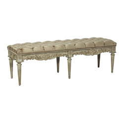 Classic Tufted Bench / Fluted Legs - Features: