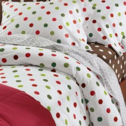 Garnet Hill - Garnet Hill Dot to Dot Cotton Flannel Sheets - Crib - Fitted - Red Green Dot - Playful polka dots are featured on soft cotton flannel bedding in both pastel and bright colors. Fitted sheet is fully elasticized for a better fit and easily accommodates mattresses up to 12 inches deep. Also in twin extra-long.