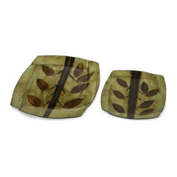 """IMAX CORPORATION - Arboles Chargers - Set of 2 - The copper shimmer of autumn leaves glow on the set of two Arboles chargers over a muted green background. Food safe. Set of 2 in various sizes measuring around 21.75""""L x 5.5""""W x 21.5""""H each. Shop home furnishings, decor, and accessories from Posh Urban Furnishings. Beautiful, stylish furniture and decor that will brighten your home instantly. Shop modern, traditional, vintage, and world designs."""