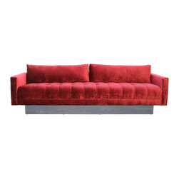 Mortise & Tenon - MIlo Sofa - A red tuffed sofa that will make a statement in your living room.