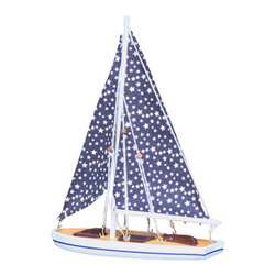 Handcrafted Nautical Decor - It Floats 12'' - Small Stars Floating Sailboat - NOT A MODEL SHIP KIT --Attach Sails and the It Floats Sailboat is Ready for Immediate Display and Use-- --Our new It Floats - Small Stars    model salboat   is freshly designed with increased  craftsmanship and  is   our debut  float alone sailboat. Available in 14  different   styles/colors,  this sailboat can  be taken into the water and  enjoyed   by anyone.  Included with your  purchase is a wooden base to    prominently display the  model after use.  These sleek and elegant    wooden  model sailboats have  seen careful  attention paid to every    detail. Bring a  winning spirit  and nautical  flair to the Decor of any    room with the  clean lines and  graceful  features of these model    sailing boats. Attaching sails is a simple process typically taking no more than 2 minutes.------    Handcrafted from solid wood by our master artisans--    Nautical blue and white colors used to compliment sail boat--    Wooden base included with sailboat to prominently display model--    Our functional floating sailboat is waterproof. IT FLOATS!--    Suits any room or decor with clean lines and simple colors--