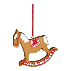 Alexander Taron - Christian Ulbricht Ornament - Rocking Horse Red/Brown - 2.5H x 2.5W x 0.25D - Christian Ulbricht hanging ornament - brown and red painted rocking horse - Made in Germany.