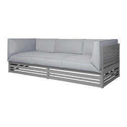 Mama Green - Yuyup Sofa, Grey, 3-Seater - The Yuyup collection by Mamagreen is 100% powder coated aluminum framed seating and tables. Cushions used for lounge furniture are comprised of QuickDry foam and Leisuretex upholstery. Leisuretex is a seam sealed fabric by Twitchell that is safe in all seasons, greatly reducing the maintenance normally involved with outdoor seating.