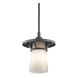 Kichler Lighting - Kichler Lighting Lura Modern / Contemporary Outdoor Pendant Light X-IVA37394 - Add this outdoor pendant light by Kichler Lighting to the outside of your home for modernity and style. With its sleek and smooth Satin Etched Cased Opal Glass Shade, this light fixture offers a clean and contemporary look. Its Anvil Iron Finish completes the polished appearance.