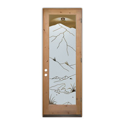 Sans Soucie Art Glass (door frame material T.M. Cobb) - Glass Front Entry Door Sans Soucie Art Glass Mountains Foliage - Sans Soucie Art Glass Front Door with Sandblast Etched Glass Design. Get the privacy you need without blocking light, thru beautiful works of etched glass art by Sans Soucie!This glass is semi-private. Door material will be unfinished, ready for paint or stain.Bronze Sill, Sweep and Hinges. Available in other finishes, sizes, swing directions and door materials.Dual Pane Tempered Safety Glass.Cleaning is the same as regular clear glass. Use glass cleaner and a soft cloth.