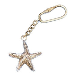 "Nautical Decor - Solid Brass Starfish Key Chain - This nautical-themed brass starfish key chain 5"" is a small replica made from solid brass and includes a brass key fob. This key chain is as beautiful as it is durable and functional. A knurled knob allows you to easily and securely add or remove keys from the ring. These wonderful key chains make ideal gifts for friends, family, employees, clients, co-workers, and especially yourself.Key Features:    Solid metal keyring and body    Knurled knob makes changing keys easy and secure    Overall length is total of ring, chain, and symbol lengths"