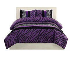 Pem America - Purple Zebra Leopard Stripe Twin Comforter with Sham - Bring the wild side into you room with black and white leopard and zebra prints with a splash of purple for color.  This easy care microfiber comforter is a centerpiece for your room at home or college. 1 Twin Comforter, 66x86 inches and 1 standard size sham, 20x26 inches. 100% microfiber polyester face with 100% polyester fill. Machine washable.