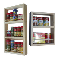 """WG Wood Products - Davis On-The-Wall Dual Depth Spice Rack Set 21/14 - Can be mounted on the wall, side of a cabinet, this item CANNOT be mounted on a hollow door.   Easy to mount with screws provided.  Dual Depth rack - one of each depth.  The smaller unit's measurements are: One 8"""" opening , one 4"""" opening.  Measures 14 1/4""""h x 11""""w x 3.5""""d.  The larger unit's measurements are:  Three 6"""" openings.  Measures 21""""h x 11""""w x 2.5""""d.  Natural pine finish can be painted or stained.  Proudly made in the USA."""