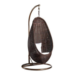Fine Mod Imports - Fine Mod Imports Rattan Hanging Chair with Stand in Chocolate Rattan - The Rattan Wicker Hanging Chair with Stand is a striking example of high design for your outdoor (or indoor) living space. This hanging chair is made from all-weather resin in It comes complete with weather-loving cushions as shown in picture.