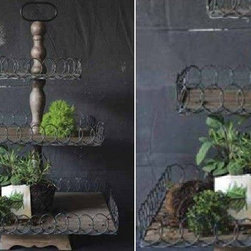 Exquisite Large Distressed Three Tier Basket - Keep your space clutter free and organize your tight space with this three-tiered wire baskets. Whether you use fill it with lemons and oranges to create a lovely centerpiece, or to keep your tools, brushes and craft tools in your home office, you will love how simple and chic this bin is.