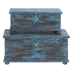 Benzara - Trunk Antiqued Design with Faded Blue Paint - Set of 2 - Recreate the breathtaking experience at your home with the Antique Pair of Wooden Trunks. Flaunting an antique finish complete with fading blue paint, this pair is sure to turn the decor of your house on its head and give it a desirable, cozy touch. If rustic is in your design sense, then these trunks are sure to appeal to you with their old world-style wooden legs, skirting at the base, metal supports at the corners and the large metal latch. The flat tops of these trunks mean that you can use them for placing flower pots or any other showpieces. You can store all kinds of stuff within these spacious trunks. While these can be used for storage, you can even stack the smaller trunk above the larger one and keep it in a corner to attribute a dated and rustic look to your room. These trunks are sturdy and long lasting in use.
