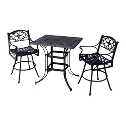 Home Styles - Home Styles Biscayne 3 Piece Outdoor Bistro Set in Bronze - Home Styles - Patio Bistro Sets - 5555369 - Create an intimate conversation area with Home Styles' Biscayne Space Saving Rectangle Bistro Set. Constructed of cast aluminum in a UV resistant powder-coated bronze finish sealed with a clear coat for protection; this set features a table and stools that are designed specifically to prevent damage caused from pooling by allowing water to pass through freely. Other features include 2-inch umbrella hole and adjustable nylon glides to prevent damage to surfaces caused by movement and provide stability on uneven surfaces. This set is made with stainless steel hardware and is perfect for small area places such as balconies.