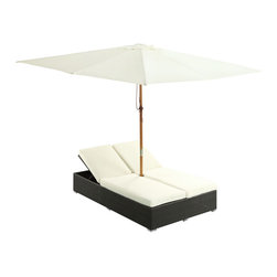 Modway - Arrival Espresso/ White Dual Chaise Outdoor Patio Set - With recline adjustable chaise lounges,and an easy fold umbrella that provides shade from the sun,the Arrival dual chaise outdoor patio set is a piece of stellar resolve. This set is perfect for cafes,restaurants,patios,and other outdoor spaces.