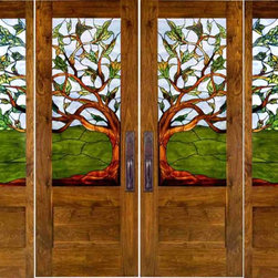 Stained Glass Doors - The stain glass pattern carried through all these panels is absolutely beautiful. I love the tree motif and unique vista it provides.