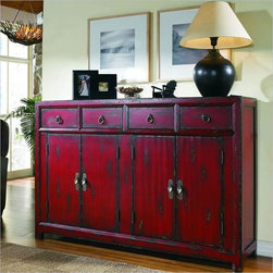 Hooker Furniture - Hooker Furniture 58-inch Red Asian Cabinet 500-50-711 - This tall-waisted Asian inspired console features the appeal of a unique size. It has four drawers, four doors with one adjustable shelf and a rich red finish.