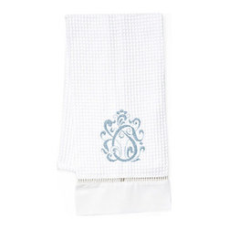 Jacaranda Living - Waffle Weave Guest Towel, English Scroll Duck Egg Blue, White - Waffle Weave Guest Towel trimmed with ladder lace and cotton percale, embroidered with the English Scroll in Duck Egg Blue. Made by Zulu women in South Africa.