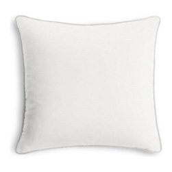 White Cotton Twill Custom Throw Pillow - Black and white photos, Louis XIV chairs, crown molding: classic is always classy. So it is with this long-time decorator's favorite: the Corded Throw Pillow. We love it in this white medium weight cotton twill: the casual classic solid.