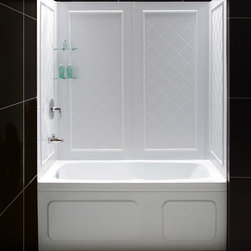Dreamline - Dreamline QWALL-Tub Backwalls Kit - DreamLine universal tub backwall panels provide a functional and beautiful solution for any bathroom renovation. The versatile tub wall panels are made of durable and easy-to-maintain Acrylic/ABS materials. For Flexibility, the easy-to-install backwall panels are engineered with a trim-to-size fit. The panels are uniquely designed to be installed over an existing solid surface (not directly to studs). With an attractive tile pattern, the panels are a cinch to maintain with no grout to clean. DreamLine offers a line of Kits that pair our most popular tub doors with our durable tub backwall panels. The convenient kits provide an efficient and cost-effective way to makeover your bathtub space without skimping on quality or style.