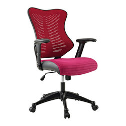 LexMod - Clutch Office Chair in Burgundy - Sit deeply into this form-fitting chair of distinction. With a plush waterfall padded seat and ergonomic mesh back, all aspects of your seating experience have been considered. Clutch�s unique �ribbed� pattern develops a lumbar support along your entire back, while the seat�s curvature helps lessen tension on your thighs. Suitable for taller folks, this is an affordable and functional chair that gives you the support you need.