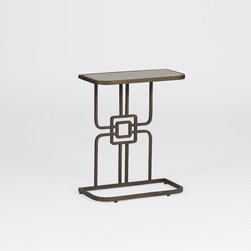 Gilbert Cigar Table - Looking for a great cigar table? Be sure to check out the Gilbert Cigar Table, with its solid iron base and white bone top. Elegant and functional with a one-sided base that can easily slide under the sofa to use for a snack or to work from your laptop or tablet. Another functional occasional table from Gabby!