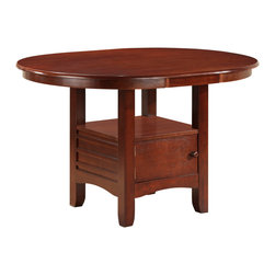 Boraam - Boraam Madison Dining Table in Cherry - Dining Table in Cherry in the Madison Collection by Boraam This quaint table is constructed with solid hardwood and you in mind. An oval dining table such as the Madison, is not only stylish but also multifunctional. Here you'll find ideal size and design, two qualities that complement and meld with any interior decor preference. Please do notice that built into the table legs is a generously sized storage cabinet. This cabinet gives you extra space to fulfill all types of storage needs. Not to mention, the shelf on top of the cabinet also provides you with even more room to store, collect, or display.   Every aspect of this table exuberates charm; the molding on the cabinet siding, the shaker carved legs, the arched frame on the bottom of the cabinet, & the rounded edges on the table top. The Madison is much more than a purchase, it's an investment.