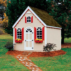Handy Home - Hampton Chalet Playhouse - Playhouse Features: -Playhouse and Storage Building in ONE!.-Shutters, flower boxes, window trim and gable add character and charm.-Factory-primed siding.-Cubic feet storage: 470.-Suggested Trim Exterior Paint or Stain: 1 qt. (not included).-Sides Exterior Paint or Stain: 2 gallon.-Suggested Drip Edge (linear feet): 50' (not included).-Suggested Roof Shingles: 5 bundles (not included).-Pre-cut wood floor kit included.-Includes 2 operable aluminum windows with screens.-Dimensions:Includes two doors: 24''W x 5'H (playhouse side), 32'' W x 6' H (storage side).-Constructed from wood.-Sturdy 2 x 4 construction with double top plates.-Distressed: No.-Country of Manufacture: United States.Dimensions: -Nominal sizes: 8' W x 8' D x 9' 8'' H.-5' High side walls.-Overall Dimensions: 116'' H x 96'' W x 96'' D, 1097 lbs.-Overall Height - Top to Bottom: 116.-Overall Width - Side to Side: 116.-Overall Depth - Front to Back: 96.-Overall Product Weight: 1097 lbs.