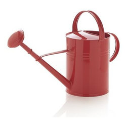 Paprika Watering Can - Classic galvanized iron watering can perks up in peppy paprika. Rainspout dispenser sprays wide and gentle to cover a large area of planting and can be removed for watering smaller containers.