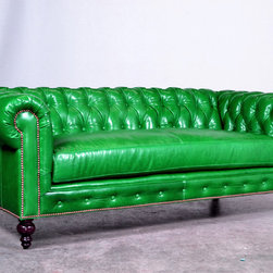 Chesterfield Couch in Mont Blanc Emerald - This couch is on its way to its new home in NYC!