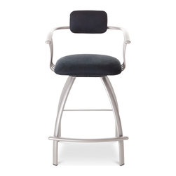 Amisco - Amisco Kris Upholstered Back Swivel Stool 40494, 24 Inches (Counter Height) - Amisco