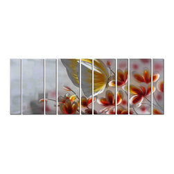 Pure Art - Butterfly Wings and Delicate Petal Wall Art Set of 9 - There is no better way to bring a lighthearted, life infused feeling to space than with bright beautiful colors and an image of one of nature's most loved creatures. This oversized 9-panel artwork portrays a huge, billowy butterfly as it hovers over a flower, with many more flowers standing ready to greet her: A wonderfully delicate ambiance has been created by the artist.Made with top grade aluminum material and handcrafted with the use of special colors, it is a very appealing piece that sticks out with its genuine glow. Easy to hang and clean.