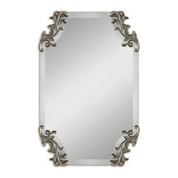 Burnished Antique Silver Scroll Accents Mirror - *Frameless, shaped beveled mirror accented by decorative corner ornaments finished in heavily burnished antiqued silver. May be hung either horizontal or vertical.