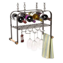 Enclume Hanging Wine and 4-Bottle Glass Rack