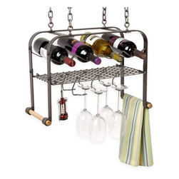 Enclume - Enclume Hanging Wine and 4-Bottle Glass Rack - Hang out at the hanging bar in your house, where everyone knows your name (and your favorite food pairings). This suspended wine rack holds four bottles, with an added grid for wine glasses and utensils. Six wineglass hooks, two wooden towel rods, four ceiling screw hooks and four six-inch pieces of chain are included, so you can customize your wine bar the second you receive it. Cheers!