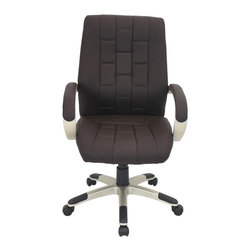 LUMISOURCE - Lumisource Category Office Chair, Chocolate/Champagne - Remove the stress from your workday with the restfulness of the Category Office Chair. A cushioned wave molds to the body's contours and rounded arms are topped with additional padding for complete comfort. An embroidered block pattern adds a modern edge to the sophisticated chair.