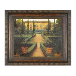 Uttermost - Uttermost 50422  Garden Manor Framed Art - This oil reproduction is accented by a hand forged metal frame. the finish has a hand rubbed mahogany undercoat with rust distressing. the inner and outer edges feature an embossed design.