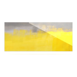 """Kess InHouse - CarolLynn Tice """"A Simple Abstract"""" Yellow Gray Metal Luxe Panel (9"""" x 21"""") - Our luxe KESS InHouse art panels are the perfect addition to your super fab living room, dining room, bedroom or bathroom. Heck, we have customers that have them in their sunrooms. These items are the art equivalent to flat screens. They offer a bright splash of color in a sleek and elegant way. They are available in square and rectangle sizes. Comes with a shadow mount for an even sleeker finish. By infusing the dyes of the artwork directly onto specially coated metal panels, the artwork is extremely durable and will showcase the exceptional detail. Use them together to make large art installations or showcase them individually. Our KESS InHouse Art Panels will jump off your walls. We can't wait to see what our interior design savvy clients will come up with next."""