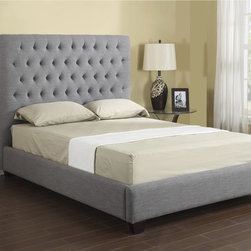 None - Emerald Grey Linen Tufted Platform Upholstered Bed - Stately style comes in a queen or king size to upgrade a bedroom look. Bolt-on rails give this Sophia platform bed stability,while nail head accents flaunt its dignified sophistication.