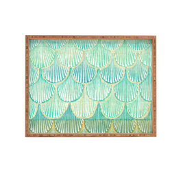 DENY Designs - Cori Dantini Turquoise Scallops Rectangular Tray, Large - With DENY's multifunctional rectangular tray collection, you can use it for decoration in just about any room of the house or go the traditional route to serve cocktails. Either way, you'll be the ever so stylish hostess with the mostess! Tray Frame is 100% sustainable, eco-friendly flat grain Amber Bamboo. Our bamboo is manufactured without added formaldehyde and is FSC 100% certified. High gloss printed tray bottom. Custom made in the USA for every order.