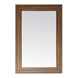 """Lamps Plus - Contemporary Avanity Knox 24"""" Wide Zebra Wood Wall Mirror - A handsome wall mirror in a solid carved zebra wood frame. The beautiful zebra wood finish lends distinctive """"zebra"""" stripes to this design. Its rectangular shape makes this a perfect accent in a bedroom or dressing area. Zebra wood frame. Zebra wood finish. 24"""" wide. 36"""" high. 3/4"""" deep. Glass only is 19 3/4"""" wide and 31 1/2"""" high. Hang weight is 26 lbs.  Zebra wood frame.    Zebra wood finish.   24"""" wide.   36"""" high.   3/4"""" deep.   Glass only is 19 3/4"""" wide and 31 1/2"""" high.  Hang weight is 26 lbs."""