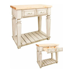 Jeffrey Alexander - Jeffrey Alexander Bungalow Petite white Kitchen Island 33-15/16x22-1/1 Inch - Jeffrey Alexander 33 15/16 Inch x 22 1/6 Inch x 34 1/4 Inch table style island with open shelf is manufactured using the highest quality furniture grade hardwoods and MDF. The island features two deep working drawers on one side and a false front on the reverse. Drawers are dovetail solid hardwood and are mounted on undermount full extension soft close slides. Decorative hardware is included with Jeffrey Alexander item. Coordinating post P34 is available in our carved wood collection. French White finish is applied by hand. 1 3/4 Inch hard maple edge grain butcher block top sold separately (ISL10 TOP  36 Inch x 24 Inch) Overall Dimensions: 33 15/16 Inch x 22 1/16 Inch x 34 1/4 Inch Dimensions taken from the widest point Finished in French White (finish applied by hand)  All Materials used meet California CARB2 Requirements