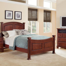 Vaughan Bassett - Panel Bed w Nightstand & Media Cabinet in Che - Choose Bed Size: FullIncludes panel bed, nightstand and media cabinet. Cherry finish. Assembly required. Nightstand:. 2 Drawers. 26 in. W x 16 in. D x 26 in. H. Media cabinet:. 3 Drawers. 1 Open shelf. 41 in. W x 18 in. D x 42 in. H. Panel bed:. Full Size:. Includes panel headboard, panel footboard and wood rails with 3 1-inch slats. Panel headboard: 58 in. L x 4.5 in. W x 55 in. H. Panel footboard: 58 in. L x 4.5 in. W x 32 in. H. Wood rails: 76 in. L x 6 in. W x 1 in. H. Queen Size:. Includes panel headboard, panel footboard and wood rails with slats. Panel headboard: 65 in. L x 4.5 in. W x 56 in. H. Panel footboard: 65 in. L x 4.5 in. W x 32 in. H. Wood rails: 82 in. L x 6 in. W x 1 in. H. California King Size:. Includes panel headboard, panel footboard, wood rails and metal slats. Panel headboard: 82 in. L x 4.5 in. W x 58 in. H. Panel footboard: 82 in. L x 4.5 in. W x 32 in. H. Wood rails: 86 in. L x 6 in. W x 1 in. H. Eastern King Size:. Includes panel headboard, panel footboard, wood rails and metal slats. Panel headboard: 82 in. L x 4.5 in. W x 58 in. H. Panel footboard: 82 in. L x 4.5 in. W x 32 in. H. Wood rails: 82 in. L x 6 in. W x 1 in. H