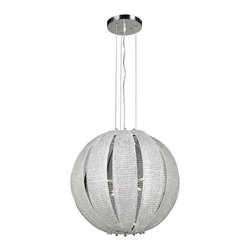 "PLC Lighting - Bijoux Modern Chandelier - Behold Bijoux. In the French Language, Bijoux means jewelry. In our language, we call it illumination royalty. This stunning and opulent ceiling fixture is compromised of frosted glass in a globe shape. The globe is tendered by using a ""stripped"" technique, allowing the light source to be visible. Finishing this piece of ceiling jewelry, the canopy is finished in polished chrome."