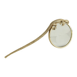 L'Objet - Gecko Magnifying Glass - Meticulously handcrafted from select metals and Limoges porcelain, L'objet Desk Accessories comprise a whimsical collection that is complex in color, rich in texture, and global in design.