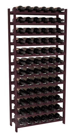 72 Bottle Stackable Wine Rack in Redwood with Burgundy Stain - Four kits of wine racks for sale prices less than three of our 18 bottle Stackables! This rack gives you the ability to store 6 full cases of wine in one spot. Strong wooden dowels allow you to add more units as you need them. These DIY wine racks are perfect for young collections and expert connoisseurs.